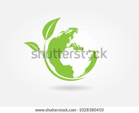 Ecology concept. Green earth ,Green leaf paper art. white background,Vector