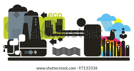 Ecology concept illustration. Abstract picture for saving nature.