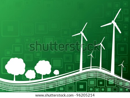 ecology concept industry and nature background - vector illustration