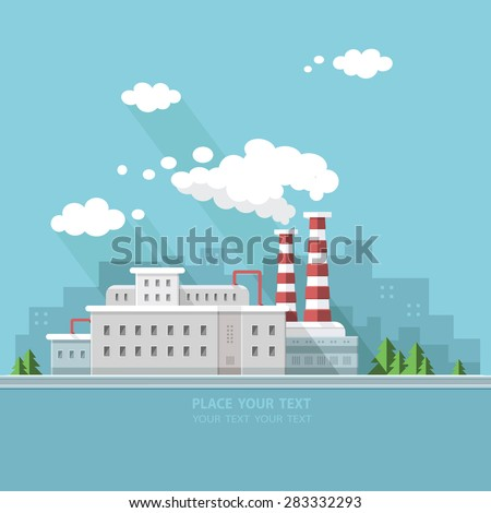 Ecology Concept - industry factory. Flat style vector illustration.