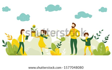 Ecology concept. People take care about planet ecology. Protect nature and ecology banner. Earth day. Family plant trees in city park. Vector illustration