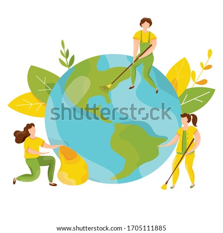 Ecology concept. People take care about planet ecology. Protect nature and ecology banner. Earth day. Globe with trees, plants and volunteer people. Vector illustration.