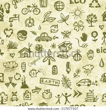 Ecology concept. Seamless pattern on grunge paper for your design - stock vector