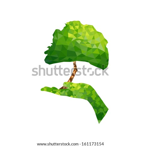 Ecology concept tree and hand geometric