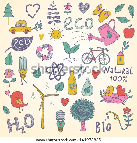 Ecology concept vector set in vector. Eco elements, wind power plant, tree, car, bicycle, lightbulb, atom, watering can, leafs, birds, bottle and other
