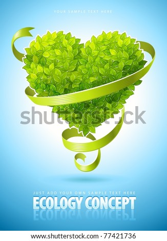 ecology concept with heart of