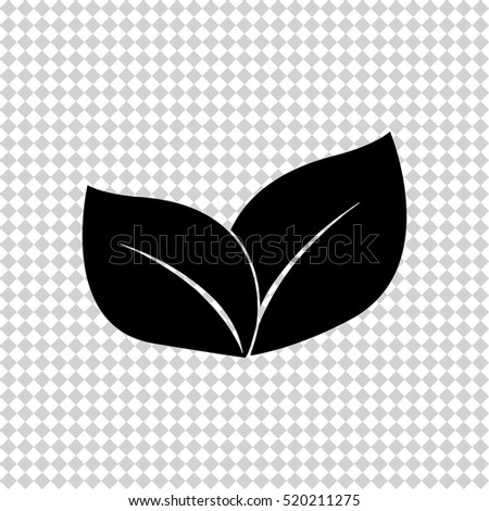 Ecology concept with leaves - black  vector icon