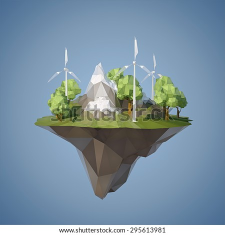 ecology concept with low poly
