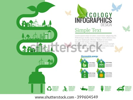 Ecology connection electrical plug concept background . Vector infographic illustration