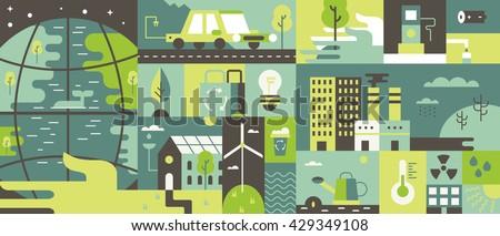 ecology design background flat