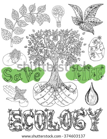 ecology doodle set with tree in