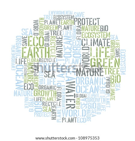 Ecology Earth concept word collage. Environmental poster design tempolate. Vector illustration, EPS8.