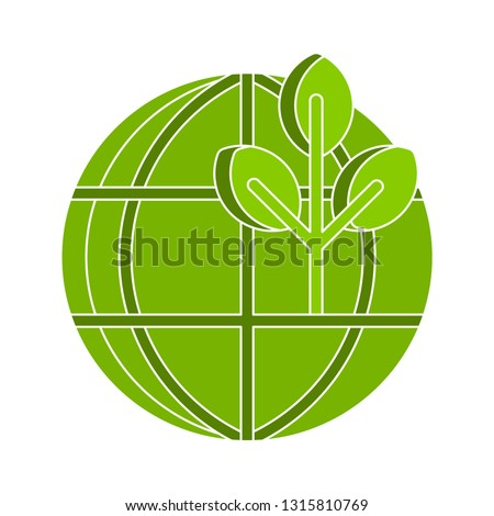ecology earth icon, eco world illustration - vector alternative energy, nature planet isolated. environmental icon
