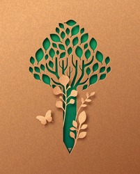 Ecology education papercut illustration concept with green plant leaves inside tree pencil. 3D creative learning cutout craft design in recycled paper background.
