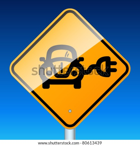 Ecology electric car sign. High-detailed vector sign