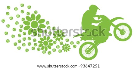 Ecology electrical motorcycle vector background green concept
