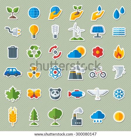 ecology flat icons stickers set