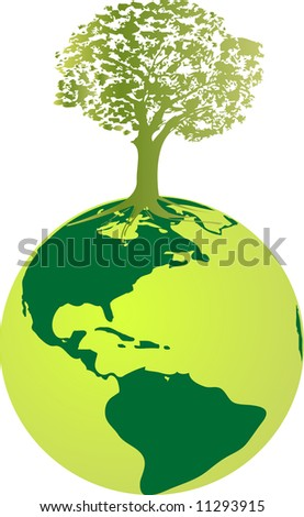 Ecology globe - vector illustration - green nature