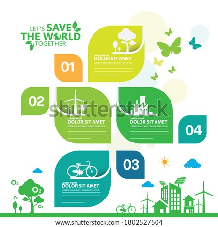 Ecology.Green cities help the world with eco-friendly concept ideas.info graphic template vector illustration Stockfoto ©
