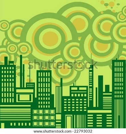Ecology green cityscape vector background