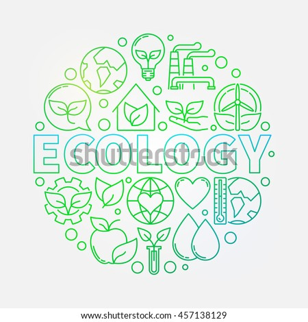 Ecology green colorful illustration. Vector bright linear eco concept round sign made with word ECOLOGY and ecological icons