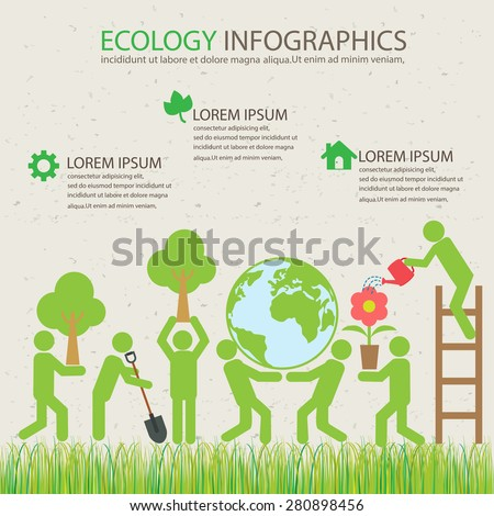 ecology green infographics