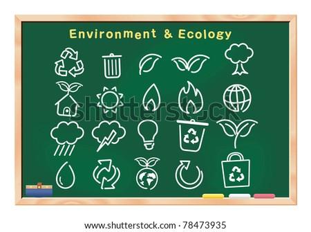 ecology icon drawings on blackboard vector