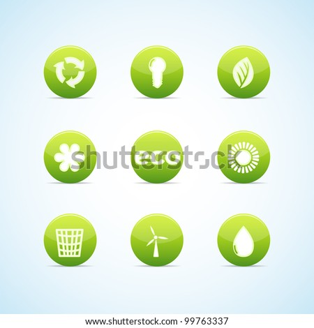 Ecology icon set for green design. Vector illustration