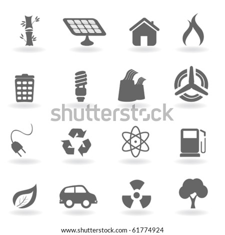 Ecology icon set in grayscale