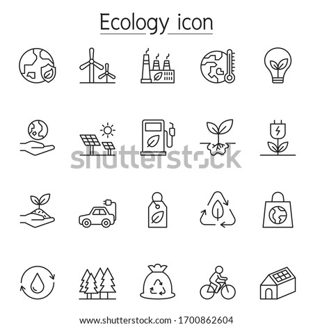 Ecology icon set in thin line style
