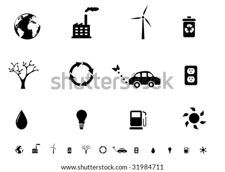 Ecology icon set silhouettes