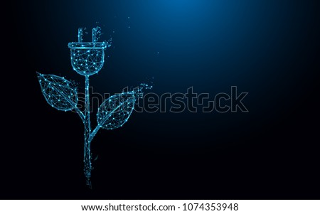 Ecology icon with electric plug and leaves form lines and triangles, point connecting network on blue background. Illustration vector