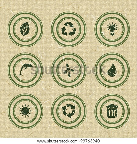 Ecology icons: green stamps on recycled paper. Vector illustration - stock vector