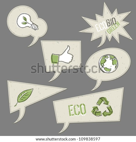 Ecology icons in speech bubbles. Vector elements collection, EPS10.