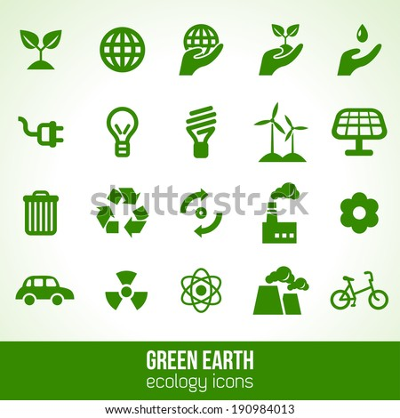 ecology icons isolated on white