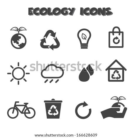 ecology icons, mono vector symbols