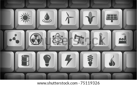 Ecology Icons on Gray Computer Keyboard Buttons Original Illustration
