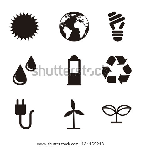ecology icons over white background. vector illustration