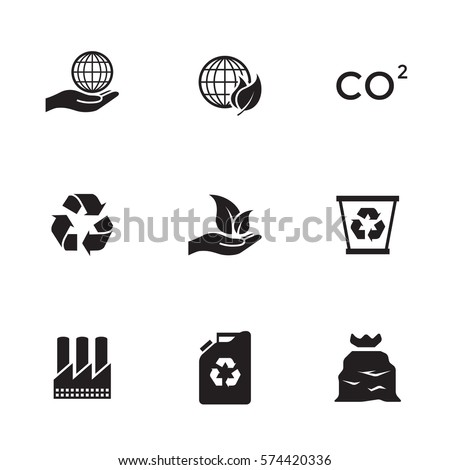 Shutterstock Ecology icons set. Black on a white background