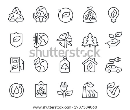 Ecology Icons Set. Collection of linear simple web icons such as Recycling, Alternative Energy Source, Ecohouse, Environmental Protection, Global Warming and other. Editable vector stroke.