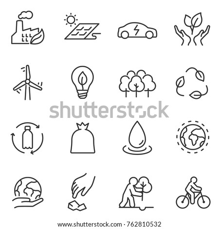 ecology icons set. environmental energy, conservation and restoration of the environment. linear design. Line with editable stroke