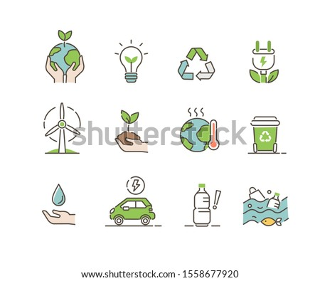 Ecology Icons Set. Global Warming, Climate Change, Plastic Pollution and other Ecology Problems. Save the Planet Symbols. Eco Environment Signs Collection. Flat Line Cartoon Vector Illustration.
