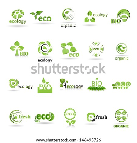 Ecology Icons Set  - Isolated On White Background - Vector illustration, Graphic Design Editable For Your Design. Ecology Logo