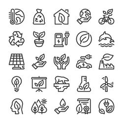 Ecology icons set. Nature protection symbols. Line style