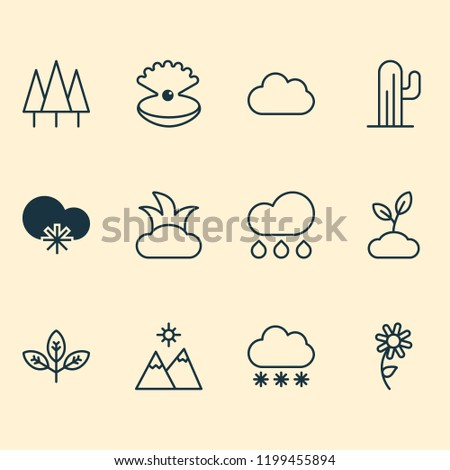 ecology icons set with overcast