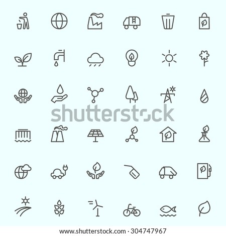 ecology icons  simple and thin