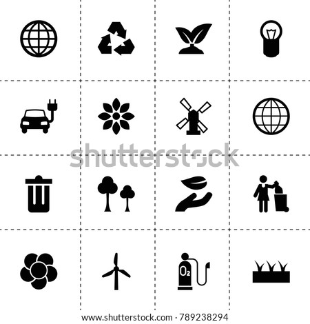 Ecology icons. vector collection filled ecology icons. includes symbols such as tree, sprouting, windmill, flower, leaf in hand, bulb. use for web, mobile and ui design.