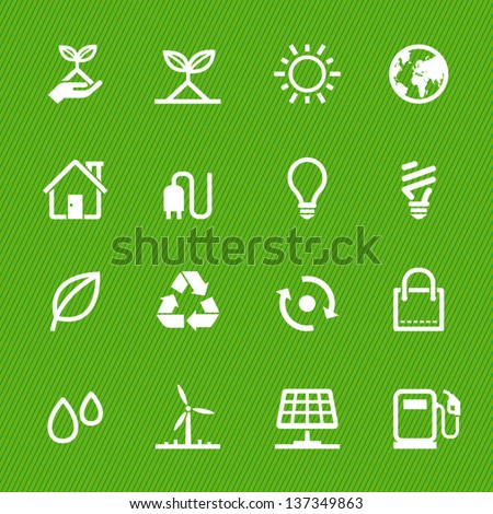 ecology icons with green