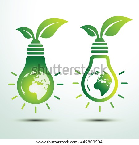 Ecology idea green bulb and earth with leave vector illustration
