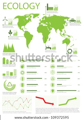 Ecology info graphics collection, charts, world map, graphic vector elements